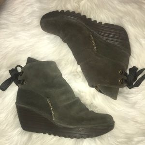 Fly London Yama Olive Green Suede Booties